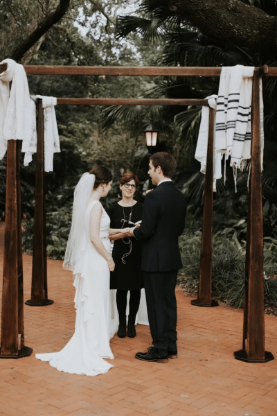 Custom built wood chuppah